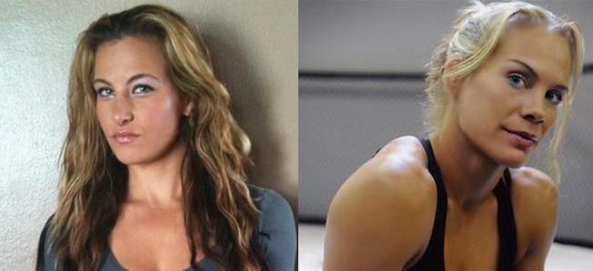 Miesha Tate und Julie Kedzie (Fotos: Sportcenter MMA & 5thRound.com)